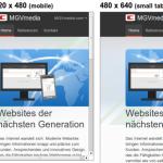 MGVmedia.com in mehreren Breiten nebeneinander
